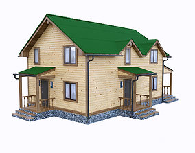 3D simply wooden house