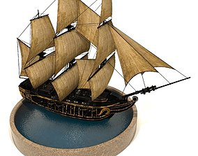 Pirate Ship 3D asset animated realtime