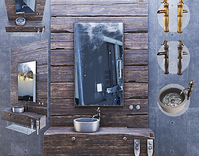 Wood Furniture sink mixer 3D