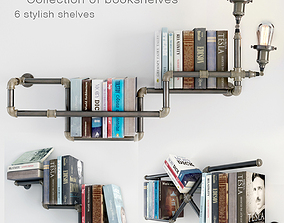 Collection of 6 bookshelves 3D model