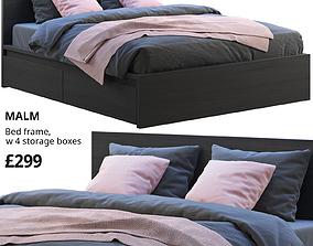 3D model Ikea Malm 3 bed