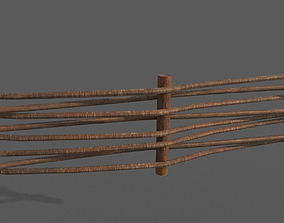Wooden Weave Fence 3D asset game-ready