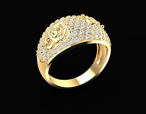 1676 Diamond Rose ring 3D printable model