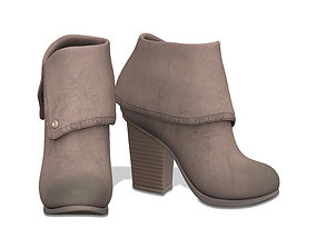 Suede Chord Taupe Fold-Over Ankle Boots 3D model