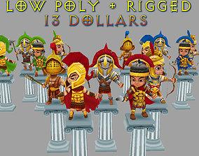 3D model Low Poly Roman Warriors