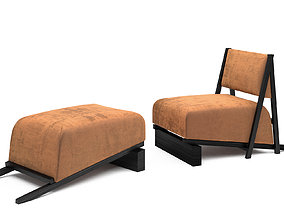 Charlus armchair and Jupien ottoman 3D model