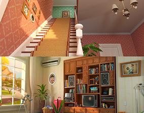 3D Cartoon Hall Living Room V2