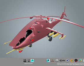 animated low poly Helicopter 3d model
