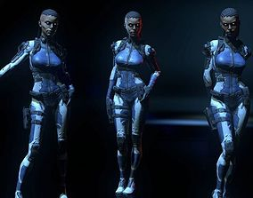 3D model low-poly Sci-fi Girl