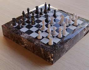 3D model marble chess set pawn