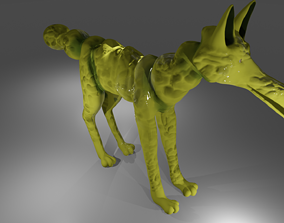 Yellow seahorse wolf hybrid creature monster 3D