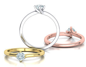 4 Claw Twisted Solitaire ring 3dmodel canada