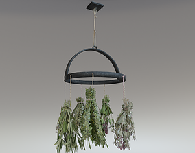 3D asset Rustic hanging dried herbs and flowers