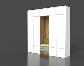 3D model White Wood Wardrobe with sitting