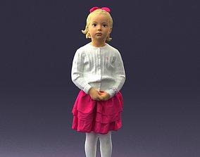Little girl in pink skirt 0166 3D printable model