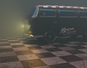 3D asset volkswagon type2 micro bus mat black sport