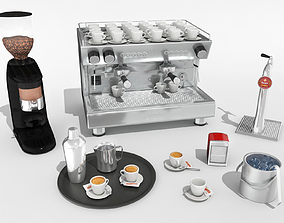 low-poly Pack bar coffee assets