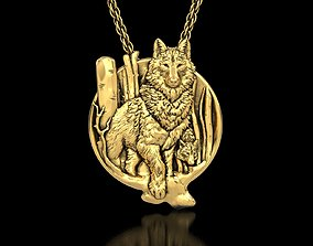 3D printable model The Wolf And Baby Medallion Pendant
