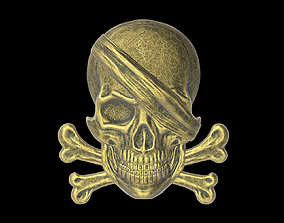 The bas-relief of pirate skull with the bones 3D print