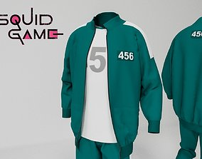 Squid game players uniform 3D model low-poly