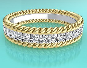 3D printable model Tiffany two rope wedding ring band 4