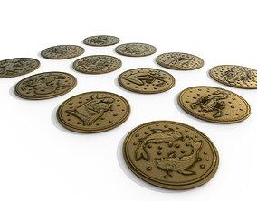 12 Zodiac Coins HP 3D model