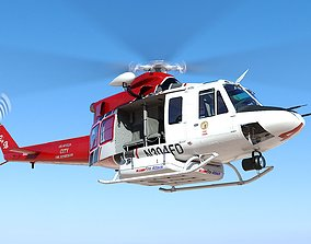 Helicopter Bell 412 LAFD 3D model