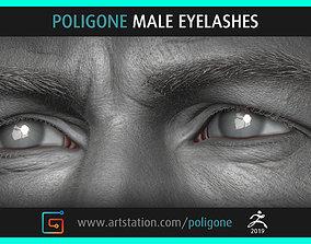 3D model Poligone Male Eyelashes