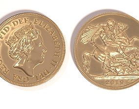 3D asset Gold Sovereign Coin