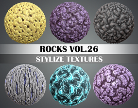 3D asset Stylized Rock Vol 26 - Hand Painted Texture Pack