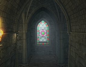 Low Poly Gothic Chapel With PBR Materials 3D model
