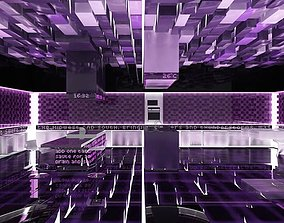 Futuristic Purple Kitchen 3D