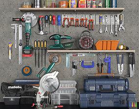 garage tools set 2 3D asset game-ready