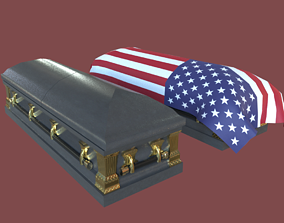 3D model Low Poly Military Coffin