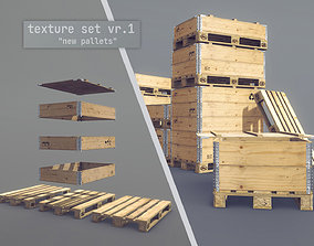 3D asset Cargo Wood Pallets Collars Cover EUR EPAL vr-1
