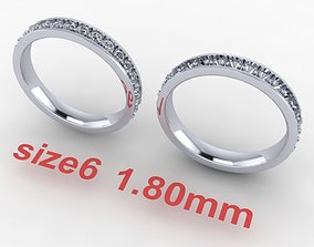 3D print model Dainty Infinity Diamond Channel Band Ring 2
