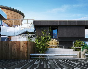Building with Wooden Decor Exterior 3D