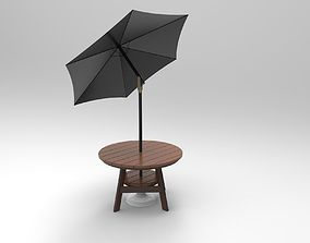 3D model Round Wood Table With Umbrella