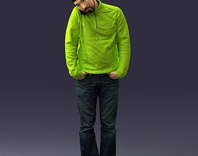3D Busy man with a phone in green jacket 0255