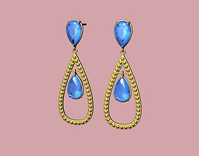 Beautiful earring with stone drop shape - 3D print model 2
