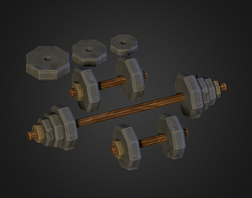 Stone Age Dumbell Set 3D asset