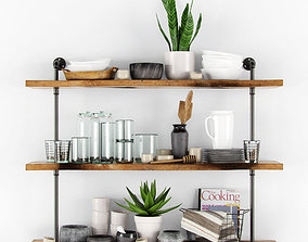 flower 3D model Shelves with kitchenware and plants