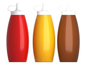 3D Sauce Bottles Ketchup Mustard Barbeque BBQ model