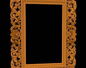 Carved CNC 3D rectangular model of mirror frame 3D 1