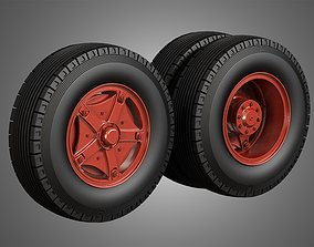 3D model Trucks Tires and Dayton Style Rims with 5 Spoks