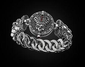 Bracelet for a real biker King skull 3D printable model