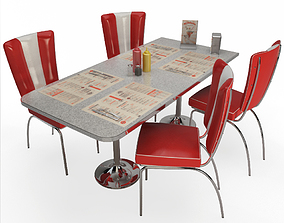 3D model Retro American Chairs and Table