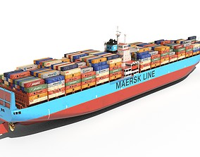 3D model low-poly Container ship 300m