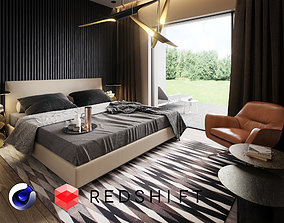 3D Bedroom Interior Scene for Cinema 4D and Redshift