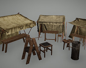 3D asset Viking Stalls and Forge Low Poly Game Ready